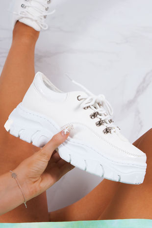ELLE White Snake Print Lace Up Chunky Trainers
