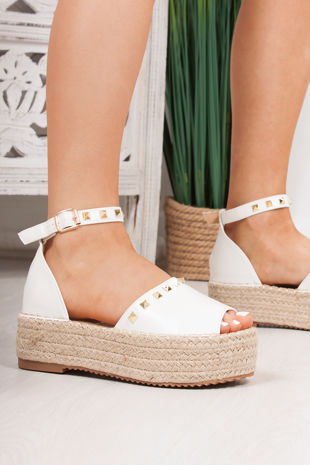 DAKOTA White Stud Detail Espadrille Flatforms