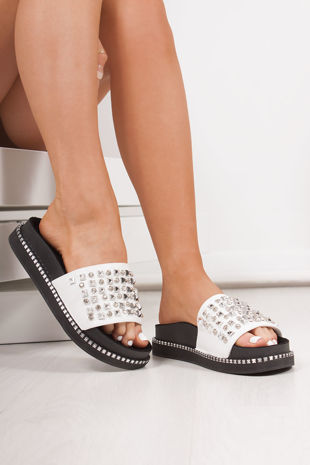 FINLEY White Stud Diamante Chunky Sliders