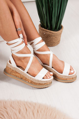 INDIGO White Croc Print Wrap Up Espadrille Flatforms