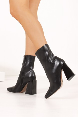 WITNEY Black Faux Leather Flared Block Heel Boots