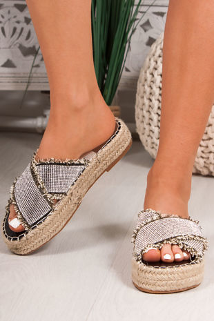 NORA Black Diamante Cross Strap Espadrille Flatform Sandals