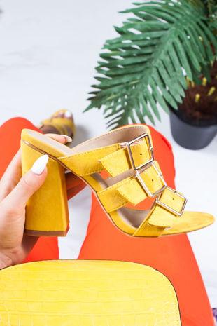 LARISA Yellow Buckle Strap Heeled Mules
