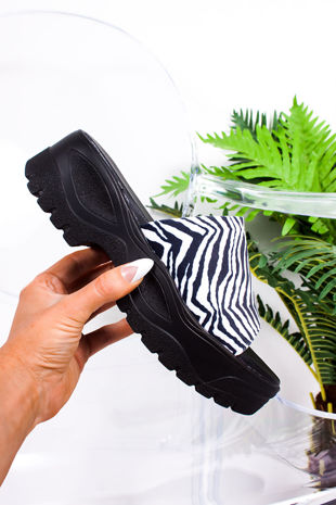 CIARA Zebra Print Chunky Flatform Sliders