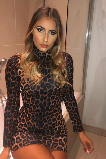 ELLIE Leopard Print High Neck Bodycon Dress