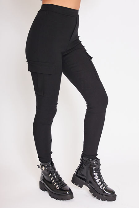 CORA Black Pocket Detail Cargo Leggings
