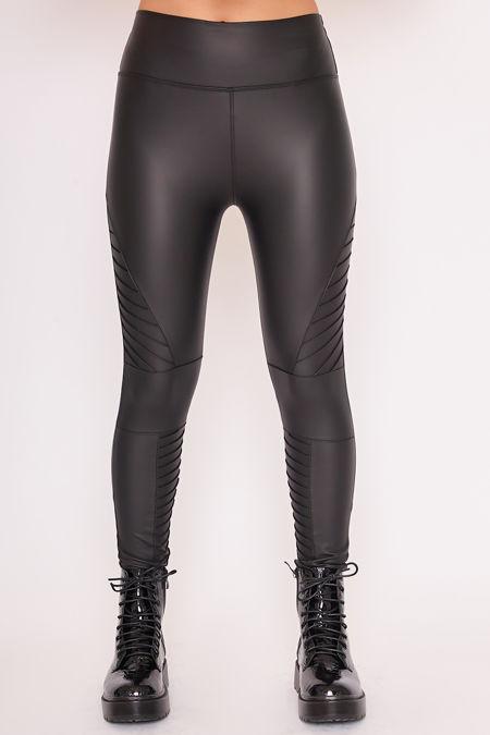 PAIGE Black Faux Leather Panelled Biker Leggings