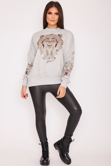 FERN Grey Tiger Detail Embellished Jumper