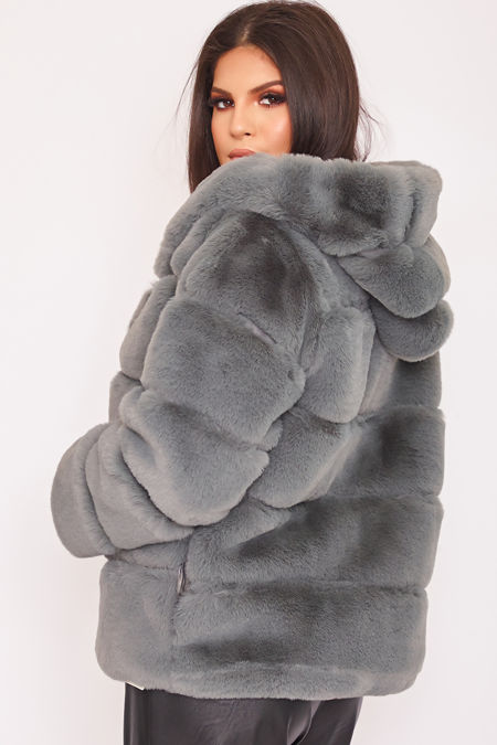 LOUISA Grey Thick Faux Fur Hooded Coat