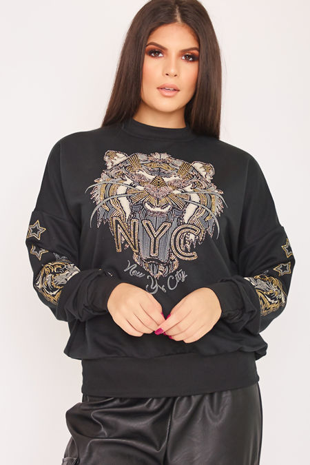 FERN Black Tiger Detail Embellished Jumper