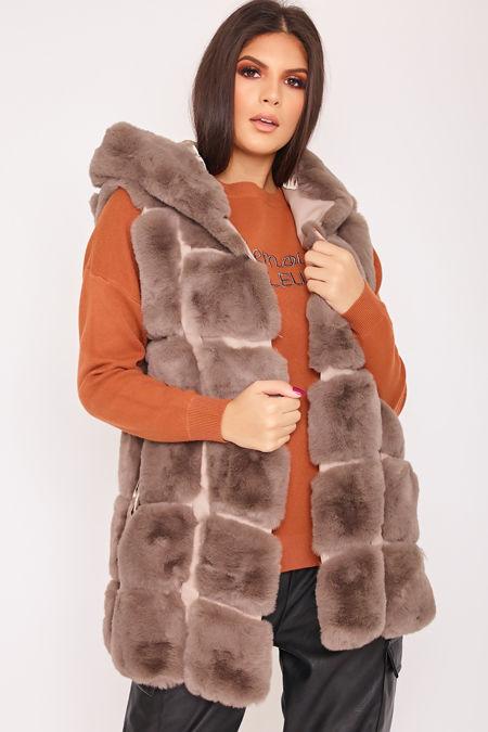 FAYE Mocha Thick Faux Fur Hooded Gilet