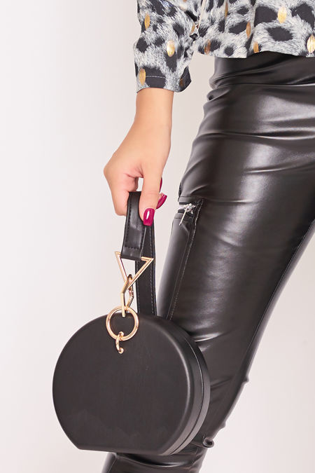 SKYLAR Black Faux Leather Round Bag