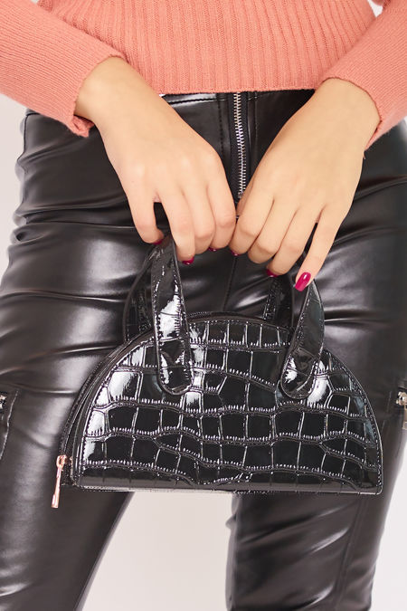 AVERY Black Croc Half Moon Bag