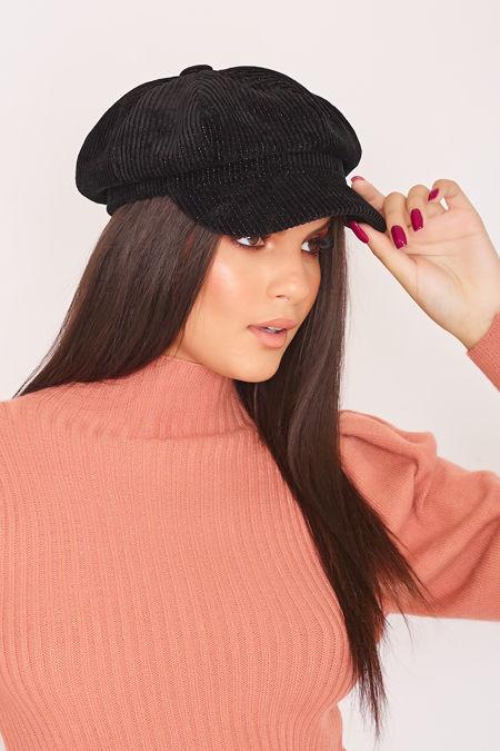 GINA Black Glitter Cord Baker Boy Hat