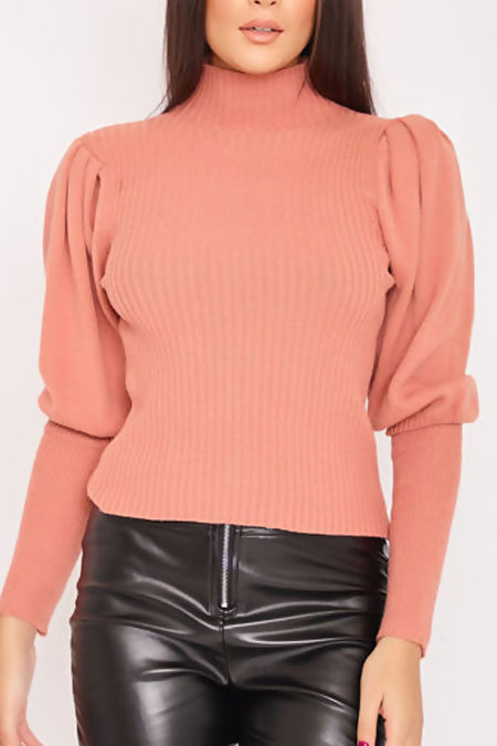 JASMINE Peach Ribbed Puff Sleeve Top