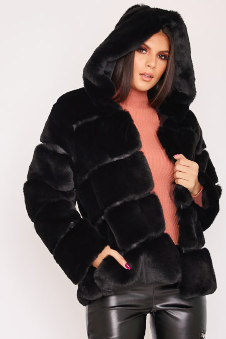 LOUISA Black Thick Faux Fur Hooded Coat