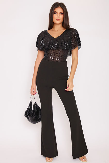 NOLA Black High Waisted Flared Leg Trousers