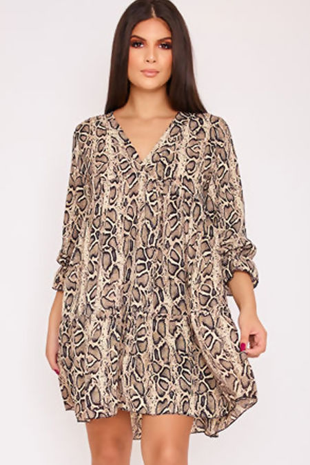 APRIL Beige Snake Print V Neck Smock Dress