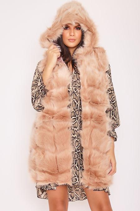 KELLI Beige Faux Fur Hooded Gilet