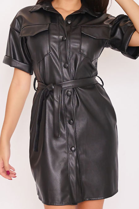 KASSIDY Black Faux Leather Belted Shirt Dress