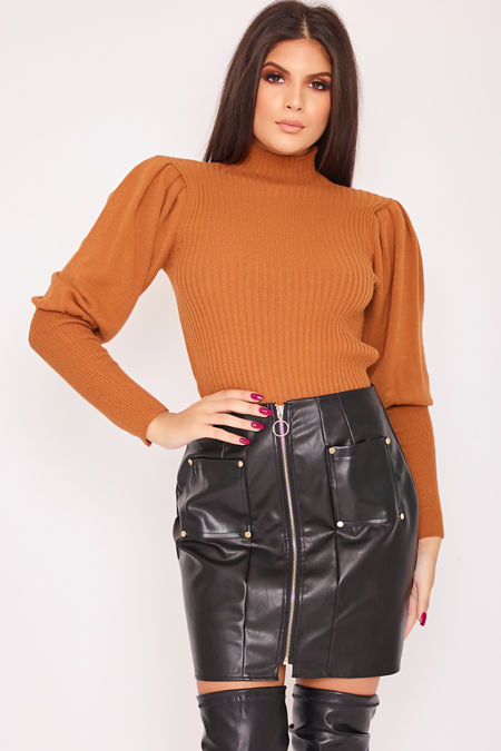JASMINE Rust Ribbed Puff Sleeve Top