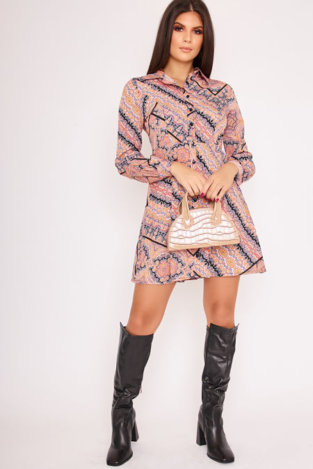 JOLENE Scarf Print Shirt Dress