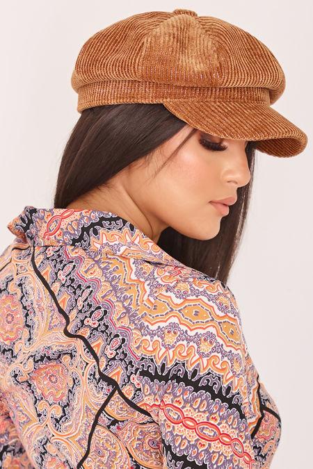 GINA Tan Glitter Cord Baker Boy Hat