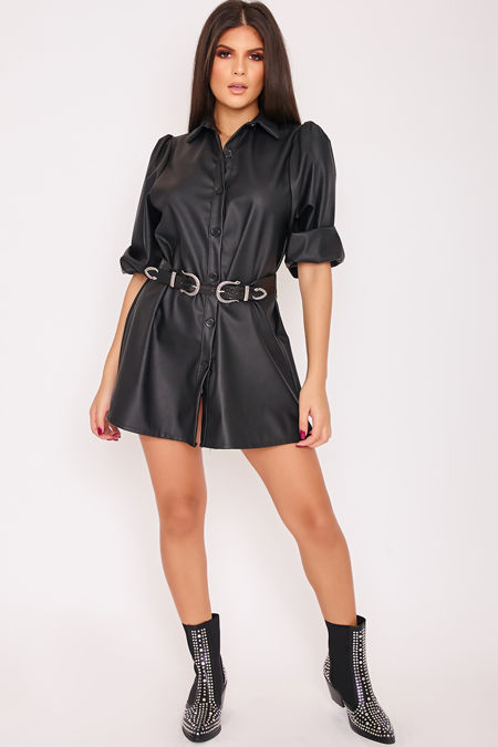 TIANA Black Faux Leather Puff Sleeve Shirt Dress