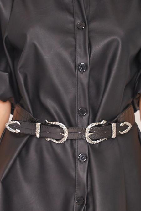 DOLLY Black Elasticated Snake Detail Double Buckle Belt