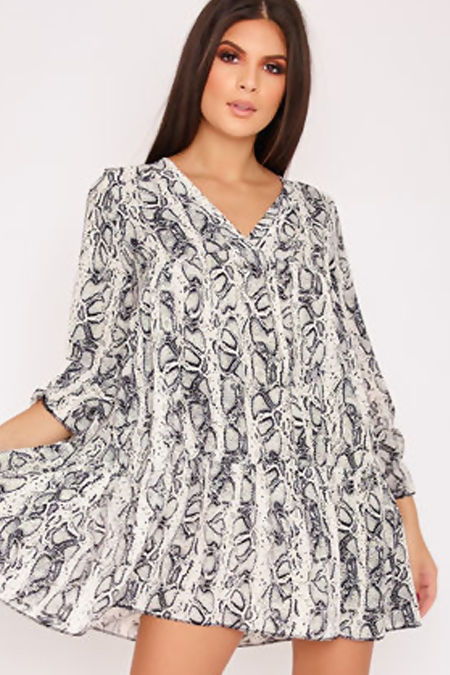 APRIL White Snake Print V Neck Smock Dress