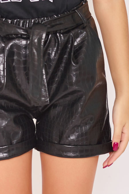 ASHLYN Black Croc Faux Leather Belted Shorts