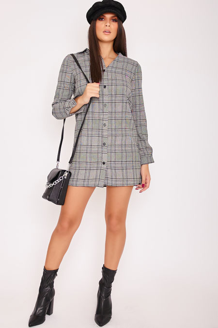 EVIE Monochrome Checked Shirt Dress