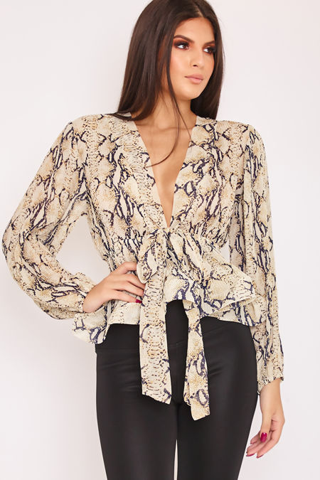LACEY Snake Print Plunge Tie Structured Hem Blouse