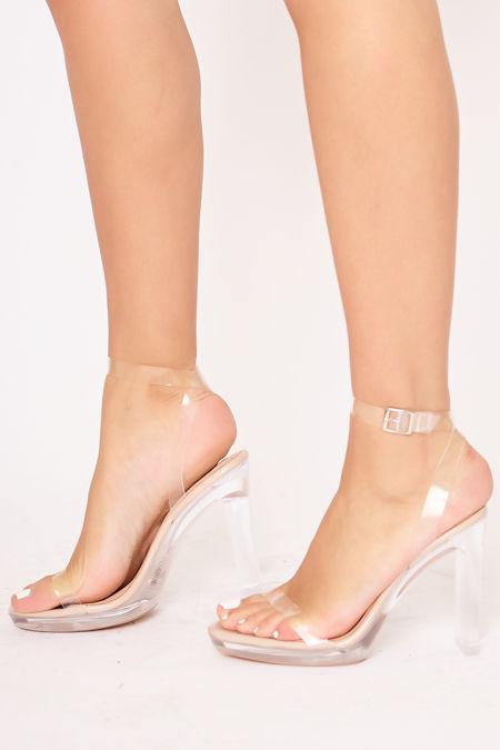 JESSIE Nude Clear Flat Block Heels
