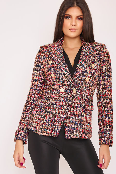 DIONNE Multi Colour Metallic Tweed Blazer