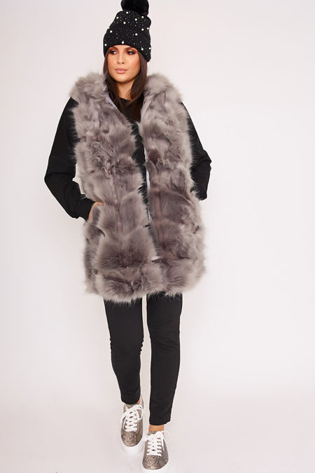 KELLI Grey Faux Fur Hooded Gilet