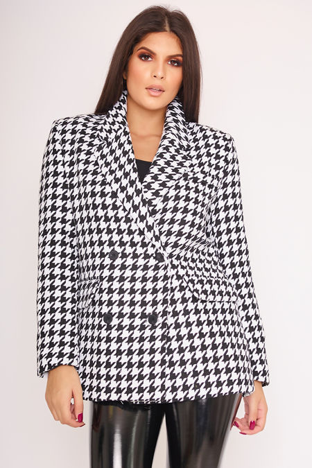 LIBERTY Monochrome Dogtooth Double Breasted Coat