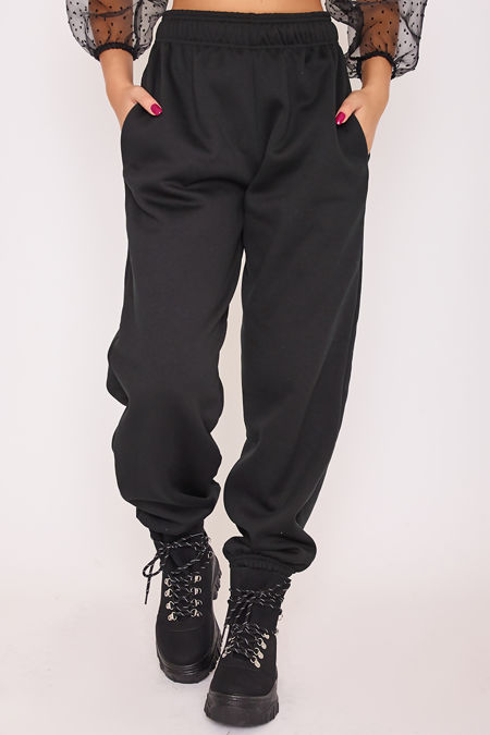 ELISE Black Basic Cuffed Hem Casual Joggers