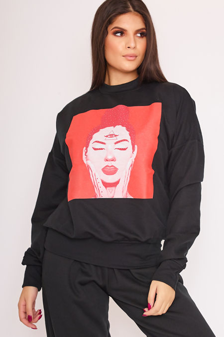 DEE Black Face Print Red Square Detail Jumper