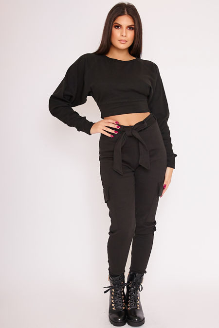 LIVVIE Black Balloon Sleeve Cropped Co-Ord Jumper