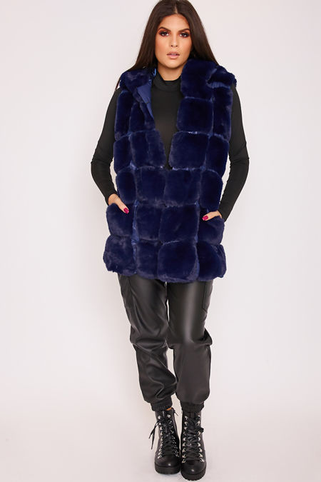 FAYE Blue Thick Faux Fur Hooded Gilet