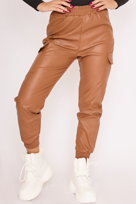 MILLIE Camel Faux Leather Cargo Joggers