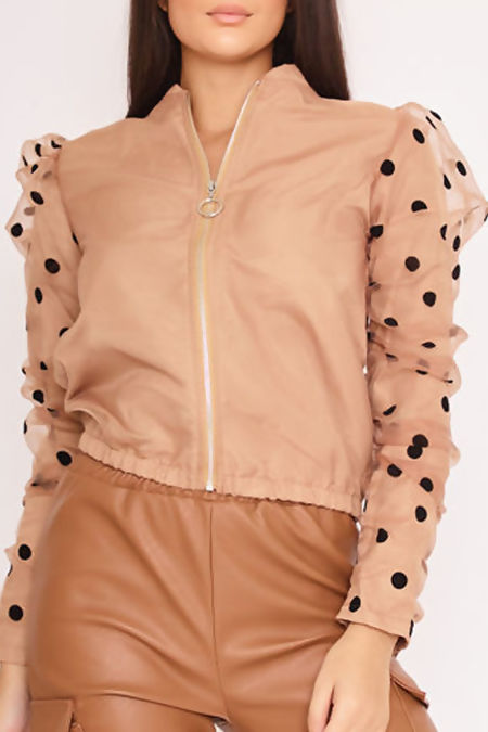 BIANCA Camel Polka Dot Puff Sleeve Bomber Jacket