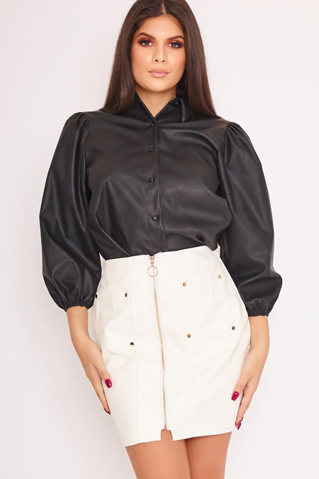 NORA White Faux Leather Zip Front Mini Skirt