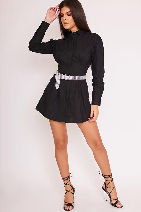 PIA Black Darted Tight Waist Shirt Dress