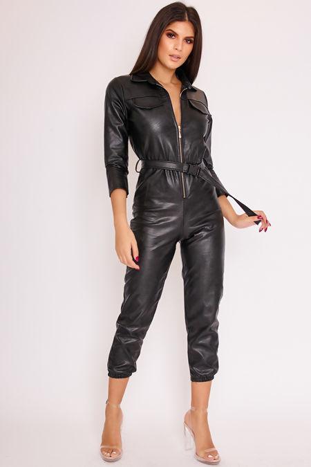 LIZA Black Faux Leather Zip Front Belted Jumpsuit