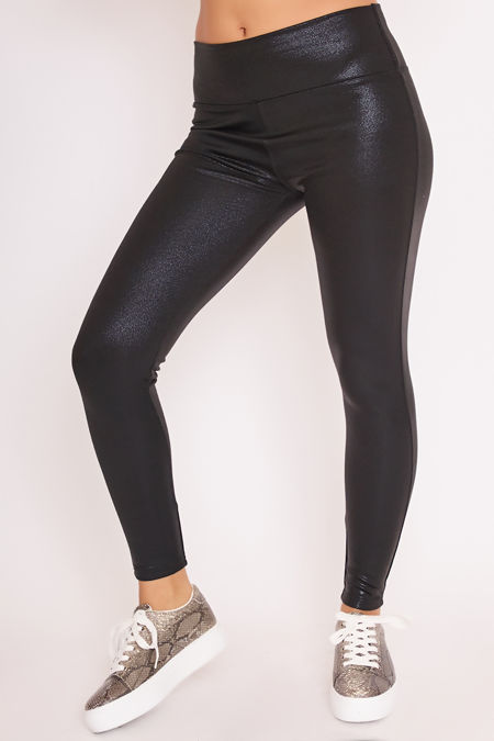 CLIO Black Metallic High Waisted Leggings