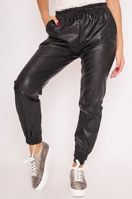 CARMEN Black Faux Leather Cuffed Joggers
