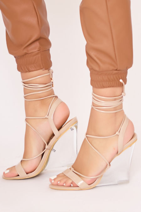 CORA Nude Wrap Up Clear Wedges