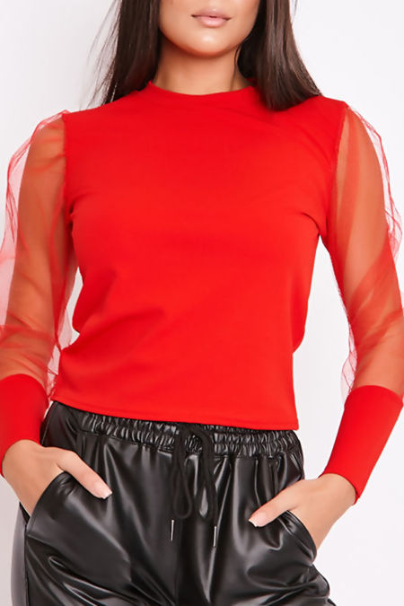 PEARL Red Mesh Puff Sleeve Top